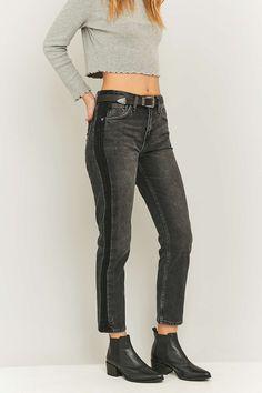BDG – Schwarze Jeans mit geradem Beinschnitt und seitlichen Streifen - Urban Outfitters