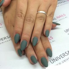 Matte army green nails