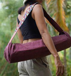 Yoga Mat Bag Carrier Tote Pilates Hemp Accessories Handmade Ooak