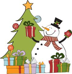 Christmas Clip Art including that includes snowmen and carolers. You will find snowmen doing all sorts of things, riding on a sled, giving gifts and other holiday activities along with carolers, you and old alike.: Snowman, Tree and Gifts