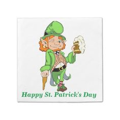 Personalize this cute St. Patrick's Day Napkins great for any party. Our adorable Lucky Leprechaun is ready to have fun. Text can be changed. Click customize to change the colors as well.