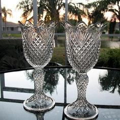 These vases are also celery vases. This is the Shepherd's Plaid by Model Flint Co. Note the intricate pattern and how clear the glass is.