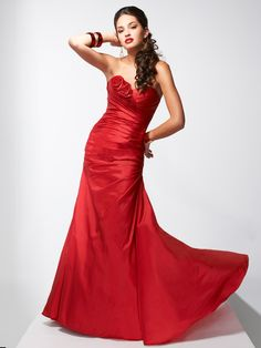 Fit & Flare Sweetheart Asymmetrically Pleated Bodice Flower Accent Taffeta Prom Dress-sop0049, $204.95