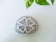 Crochet Lace Stone Ecru Flower Granite Rock Table Decoration Bounty of Nature Beach Home Decor Unique Gifts