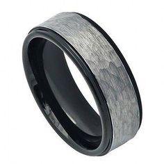 Men's Black Tungsten Wedding Band Ring Hammered Finish