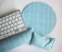 Aqua Herringbone Mouse pad set  mouse wrist rest  by Laa766  chic / cute / preppy / computer, desk accessories / cubical, office, home decor / co-worker, student gift / patterned design / match with coasters, wrist rests / computers and peripherals
