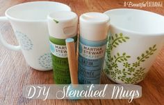 DIY Stenciled coffe cups!