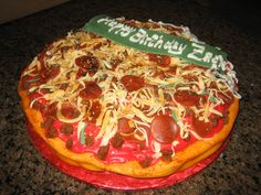 Birthday Pizza filled with chocolate cake and Cookies and Cream frosting.