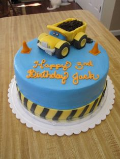 dump truck construction birthday cake