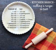 Cutting a recipe in half.
