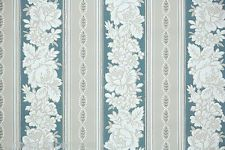 1940's Vintage Wallpaper White Flowers Blue and Gray Stripe
