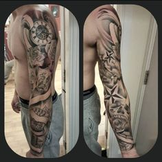 Skull Sleeve Tattoos, Tattoo Sleeve Designs, Tattoo Designs Men, Body Art Tattoos, Cool Tattoos, Chest Tattoo, Arm Band Tattoo, Tattoos Costas, Trible Tattoos