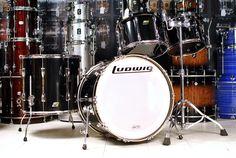 Used Ludwig Classic Maple Rock Drum Set Black Cortex