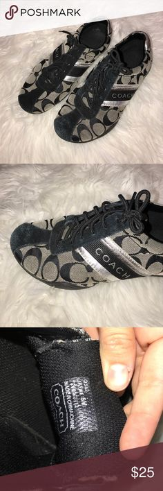 COACH SNEAKERS Black and silver coach sneakers. Super comfortable and cute. Coach Shoes Sneakers