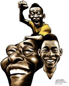 Caricatura - Pelé / Em três momentos, as três Copas conquistadas pelo Rei (1958, 1962 e 1970) - da adolescência à consagração como maior de todos os tempos.