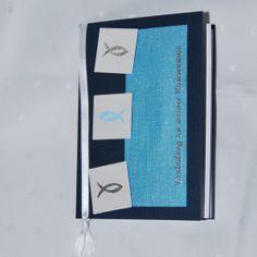 """Einladung Irisea """"Ichthys"""" in blau - Einladungen - Kommunion - Es wird gefeiert! - Cardlove.de"""