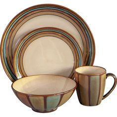 This Sango Flair dinnerware set offers a great coloration of reactive glazes that creates a unique handcrafted look.  The dinner and salad plates are banded, while the mugs and bowls have vertical vertical striping creating a very balanced look.