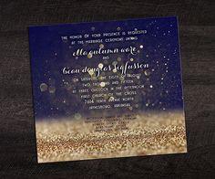 Metallic Gold Ink and Midnight Blue Wedding Invitation - Wedding Color Predictions for 2016   Smartpress.com