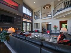 black leather modern home