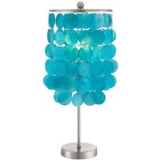 Margaux Teal Shell Shade Accent Lamp from Lamps Plus-A great way to plus up a boring kitchen counter!