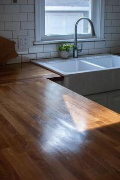 tutorial for waterloxing ikea butcher block countertops by etta