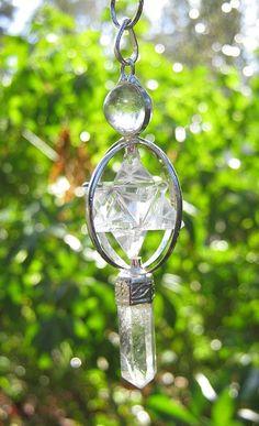 I love this pendant! Merkaba Crystal Pendulums Quartz Amethyst by CrashinglyCute, $26.00