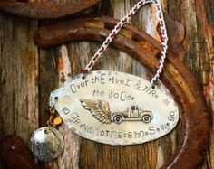 Over the river & thru the woods - hand stamped tree ornament - vintage flatware - Edit Listing - Etsy