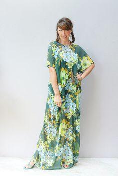 green floral kaftan sundress