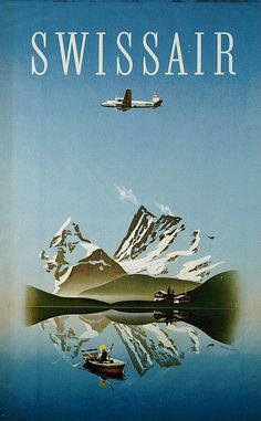 size: Giclee Print: Switzerland - Swissair - Douglas Airliner by Herbert Leupin : This exceptional art print was made using a sophisticated giclée printing process, which deliver pure, rich color and remarkable detail. Vintage Advertisements, Vintage Ads, Vintage Prints, Retro Airline, Vintage Airline, Douglas Dc 4, Retro Poster, Kunst Poster, Poster Prints