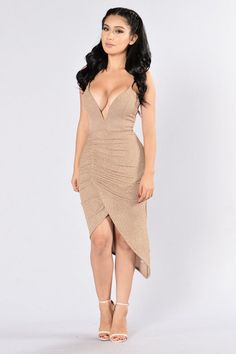 - Available in Gold Sparkle - Deep V - Boning - Ruching - Asymmetrical Hem - Made in USA - 95% Polyester, 5% Spandex