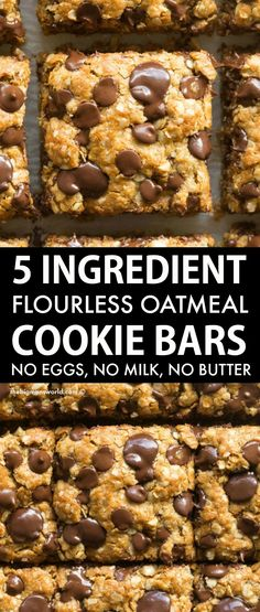 Flourless Vegan Gluten-Free Oatmeal Cookie Bars made with just 5 ingredients! Soft, chewy and gooey in one, they require just one bowl and 12 minutes to make! No butter, no oil, and no eggs! Gluten Free Sweets, Vegan Sweets, Gluten Free Baking, Vegan Baking, Dairy Free Recipes, Healthy Baking, Vegan Desserts, Healthy Desserts, Baking Recipes