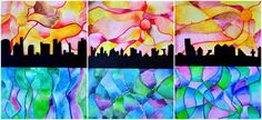 Warm & cool watercolor: cities on the sea