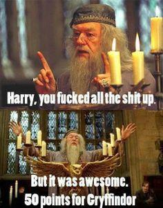 Harryn potter. 50 points for gryffindor