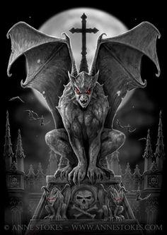 Anne Stokes, Dark Fantasy, Arte Horror, Horror Art, Fantasy Kunst, Fantasy Art, Arte Dark Souls, Gothic Gargoyles, Gargoyle Tattoo