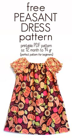 Learn how to sew a peasant dress With this free peasant dress pattern (size 12 month to 14 yr) size kleid nähen Learn how to Sew a Peasant Dress with this free Peasant Dress Pattern (sz 12 mo to Sewing For Kids, Baby Sewing, Free Sewing, Plus Size Sewing Patterns, Clothing Patterns, Kids Sewing Patterns, Sewing Designs, Kids Dress Patterns, Sewing Hacks