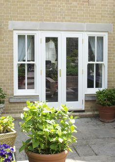 Open out French Doors and side Sash windows Side Window, Sash Windows, French Doors, Home Projects, Kitchen Ideas, Kitchens, House, Home, Sliding Windows