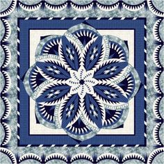 Download yardage requirements for Vintage Rose Queen quilt in Blue and White.