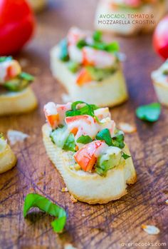 Avocado, Tomato, and Mozzarella Crostini