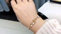 Double Brins 9-10 mm Naturel Rose South Sea Pearl Bracelet Or 14k