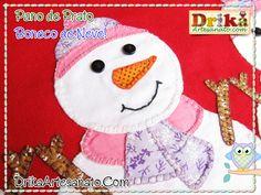 Artesanato de Natal: Pano de prato com Boneco de Neve