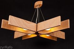 Hanging lamp with natural wood texture 28x28 inches by zyrRafo
