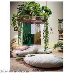 Living Room Decoration With Plants Ideas You'll Like; Living Room Decoration With Plants; Plants In Living Room; Living Room With Plants Deocr; House Design, Interior, Floor Cushions, Small Apartments, Meditation Room, Handmade Home Decor, Furniture Collections, Home Decor, Multifunctional Furniture