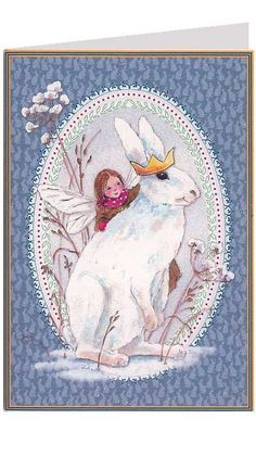 Fairy and bunny Christmas card from Germany