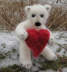 Needle Felted Polar Bear Cub Teddy Bear от ClaudiaMarieFelt