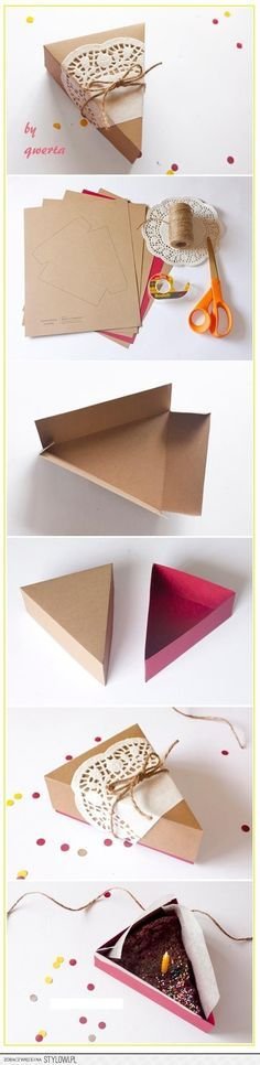 Boite pour part de gateau paper cake box-- that's cute but I'd never be able to cut the pie the same size as the box! Paper Cake, Diy Paper, Paper Crafts, Diy Gift Box, Diy Gifts, Gift Boxes, Diy Y Manualidades, Cake Packaging, Origami Wedding