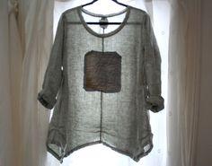 Linen Tunic Shirt / Antique Vintage / Handkerchief Linen Clothing / Lagenlook Asymmetric Hem Shirt / Plus Size on Etsy, $125.00
