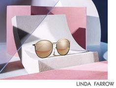 Photographer Kate Jackling has produced luxuriously crisp and summery tones in her recent still life shoot for Linda Farrow's 'Wonderlust' Spring/Summer Designer Eyewear Campaign. Glass Photography, Still Life Photography, Fashion Photography, Product Photography, Luxury Sunglasses, Cat Eye Sunglasses, Round Sunglasses, Linda Farrow, Eyewear Shop