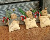 Primitive Gingerbread Man and Candy Cane Christmas Ornaments