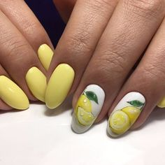 Beautiful nails Bright gel polish for nails Bright summer nails Citrus nails Nails trends 2020 Vacation nails Vacation nails for summer Yellow nails Yellow Nails Design, Yellow Nail Art, Fruit Nail Designs, Best Nail Art Designs, Nail Swag, Lemon Nails, Fruit Nail Art, Romantic Nails, Manicure