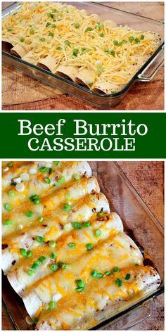 Easy Beef Burrito Casserole recipe by RecipeGirl.com #beef #burrito #casserole #recipe #RecipeGirl Burrito Casserole, Breakfast Casserole, Casserole Recipes, Meat Recipes, Cooking Recipes, Easy Mexican Food Recipes, Cooking Tips, Dinner Recipes, Dimples